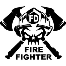 15x12.1CM Cartoon Fun FIRE FIGHTER Vinyl Decal Car Window Sticker Black/White Automobiles Motorcycles Decor for Jeep Toyota KIA