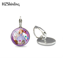 2019 New Lovely Princess Sofia Cartoon Style Glass Cabochon Silver Clip Earrings Hand Craft Jewelry Dome Clip Earring Gifts(China)