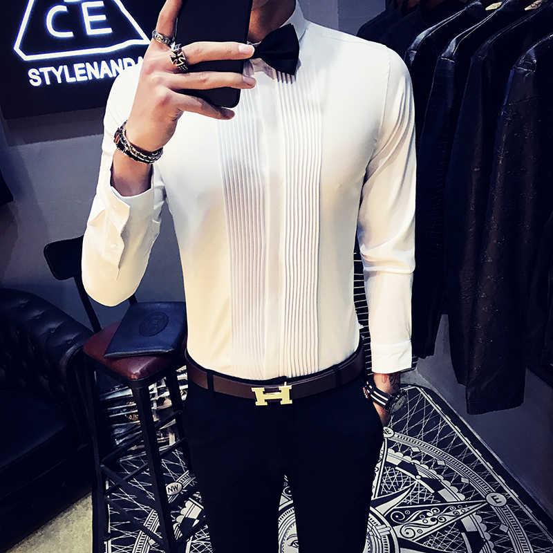 Texedo結婚式シャツプリーツスタイルシャツ男性カジュアル黒ワイン赤白たわごと男性camisas masculina漫画ロンガ長袖