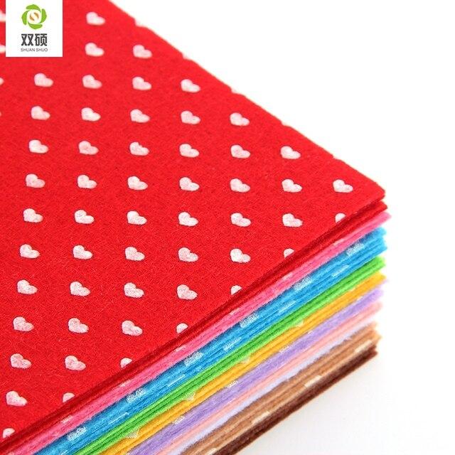 Печать в форме сердца полиэстер чувствовал ткань для поделок ручной швейной домашнего декора материал толщина 1 мм Mix 10 цветов ФЕТР 15 x 15 см N-10S1
