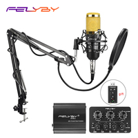 FELYBY professional recording condenser microphone bm 800 Gift USB sound card karaoke microphone for computer Live mic stand