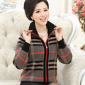 2016 Autumn Winter Women's Cashmere Sweater Coat Fashion Plus Size Mother Clothing Plaid Print Wool Cardigan Long Sleeve Jumper