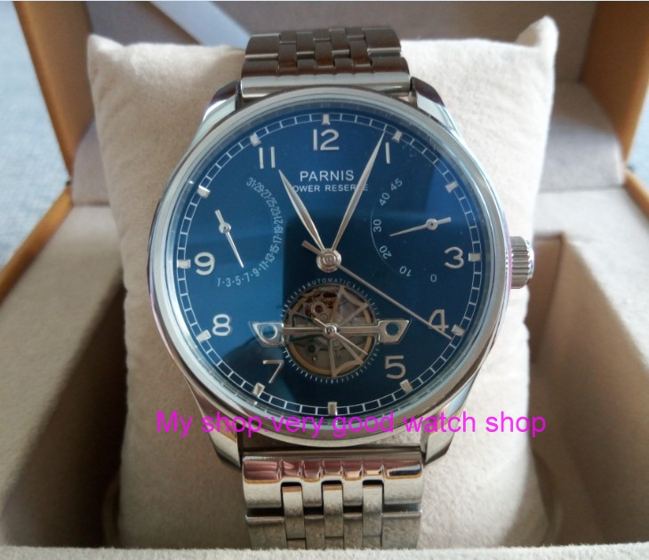 43mm PARNIS Blue dial power reserve Automatic Self-Wind Mechanical movement men's watch 316 Stainless steel watch strap zdgd28 casual 43mm parnis automatic power reserve white dial blue numbers silver watch case business watch men