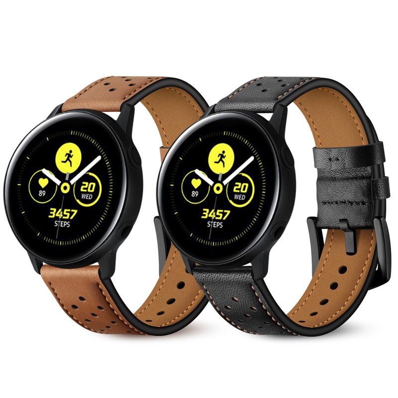 20mm Watch Strap For Samsung Galaxy Watch 42MM Active Band Genuine Leather Quick Release Bands For Gear S2 Classic Sport image