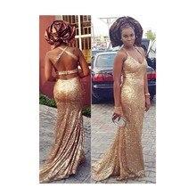 Heißer Verkauf Meerjungfrau Halfter Sleeveless Backless Sweep Zug Abendkleid Pailletten Gold Chiffon Frauen formale Kleid prom Kleider