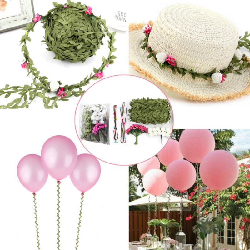 DIY Lady Headband Thin Rattan Artificial Succulents Hanging Rattan Balloon Decoration Leaves Succulent Plants