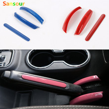 Sansour ABS Handbrake hand Parking Brake Set Paillette Trim Moulding Decorative Car Stickers Sequins Cover For Wrangler 2011 up