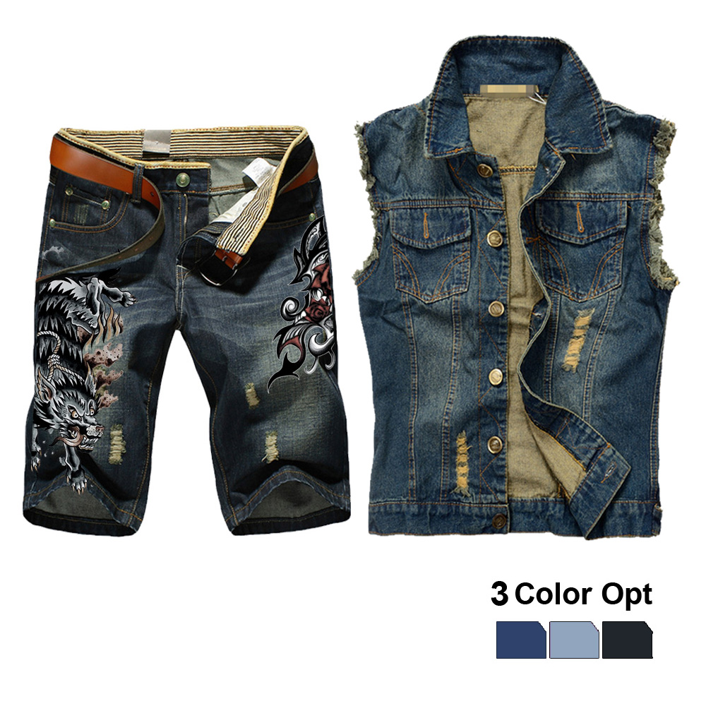 Men Jean Vest Jacket Set Retro Ripped Destroyed Skinny Hole Top Denim Short Pants 1/2 Trousers Summer Beach Wear Wolf Monster
