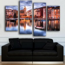 Limited Modern Canvas New Product Print Painting Wall 4pc Canal Venice Art Picture For Living Room Free Shipping