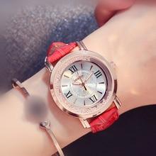 Trend female student leather strap waterproof quartz watch casual watch women's quartz  Fashion & Casual  Chronograph metallic strap number quartz rhinestoned watch