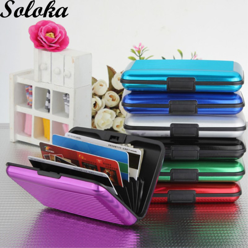 1Pc Glossy Multicolored Pocket Waterproof Wallet Business ID Credit Card Purse Cash Holder Aluminium + Plastic with Gift Box