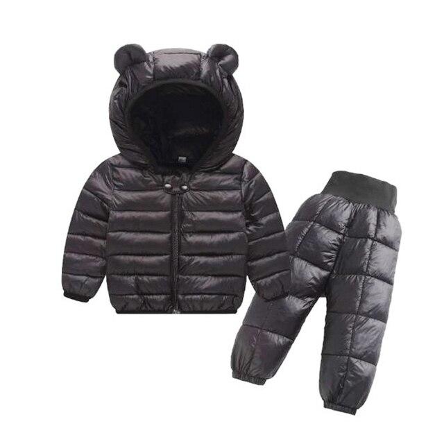 Комплекты зимней одежды для детей комплект из 2 предметов: куртка с капюшоном + штаны теплая куртка с хлопковой подкладкой для маленьких девочек Детские Зимние костюмы для мальчиков, От 1 до 5 лет
