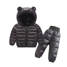Winter Children Clothing Sets 2Pcs Hooded Jacket + Pants Warm Baby Girls Cotton Padded Jacket Kids Winter Suits For Boys 1 5Y