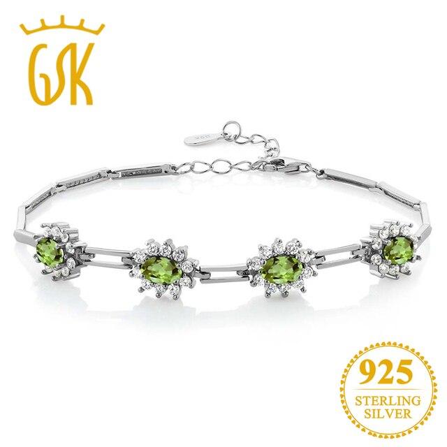 3d55547c8 GemStoneKing 4.00 Ct Oval Natural Green Peridot Bracelet 925 Sterling Silver  Fine Jewelry For Women Bracelet