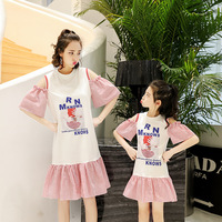 Mother Daughter Dresses 100% Cotton Summer Mom and Daughter Dress Mother Girls Evening Party Princess Dresses Family Look Sets
