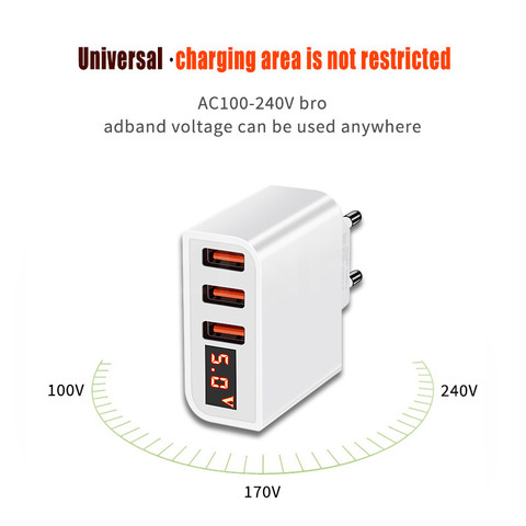 ZNP Universal 15W USB Charger 5V for iPhone XS Max X EU Plug LED Display Mobile Phone Fast Charging for Samsug S10 Xiaomi Huawei Lahore