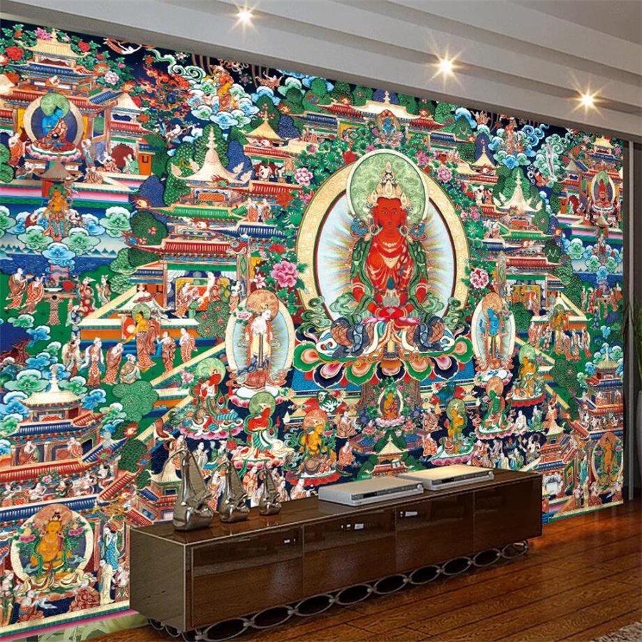 beibehang custom wallpaper 3d temple buddhist mural bodhisattva likebeibehang custom wallpaper 3d temple buddhist mural bodhisattva like background wall painting living room bedroom 3d wallpaper