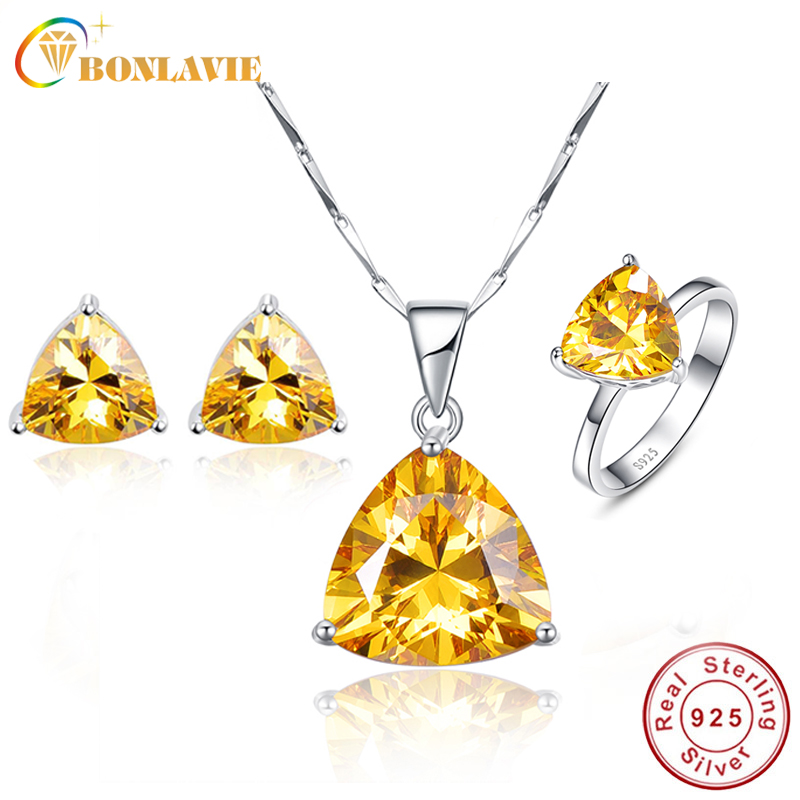 BONLAVIE 100 925 Sterling Silver Citrine Woman Fine Jewelry Sets Necklace Ring Earring Wedding Band Engagement