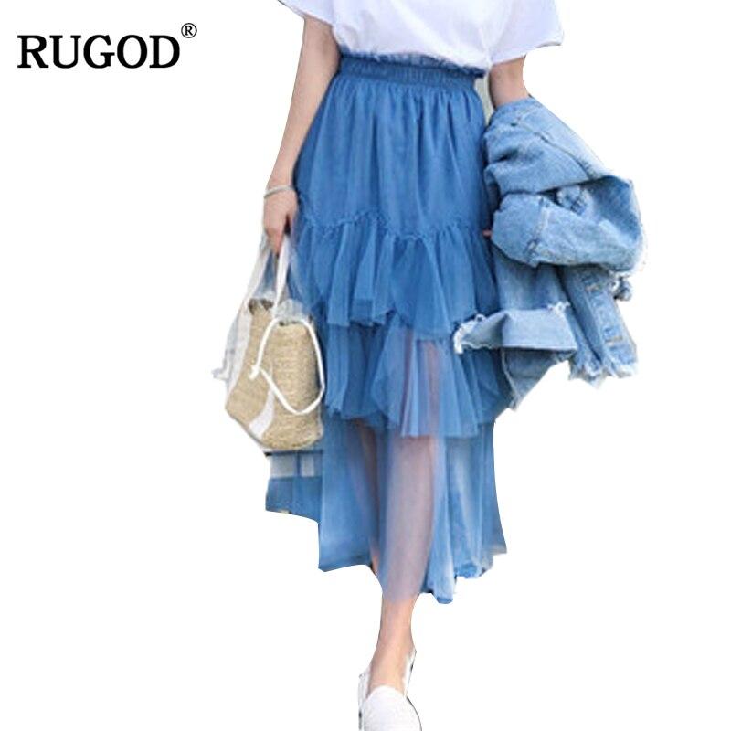 RUGOD 2018 nouveau élégant femmes gaze chemise printemps été offre spéciale femme à plusieurs niveaux jupes bleu blanc couleur mi-mollet