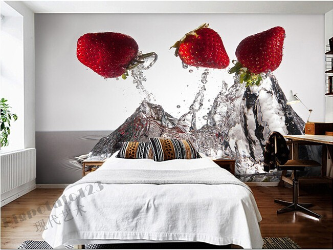 The latest 3D murals, the water jump strawberry restaurant food wallpaper, living room TV sofa bedroom bar kitchen wall paper the latest 3d murals dream of the sun exposure forest trees stone waterfall scenery living room tv sofa bedroom wall paper