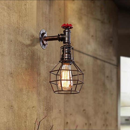 Loft Style Iron Cage Water Pipe Lamp Edison Wall Sconce Industrial Vintage Wall Light Fixtures For Home Indoor Lighting