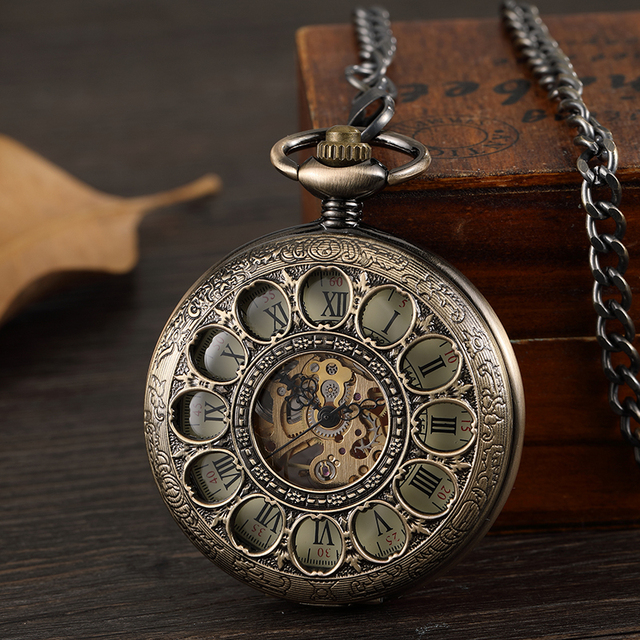 Bronze Hollow Vintage Mechanical Pocket Watch Men Skeleton Carving Steampunk Fob