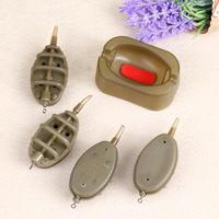 4 Feeders Mould Set Carp Plastic Inline Method Feeder Fishing Accessories Fishing Sinker Fishing Trough Pesca Bait thrower