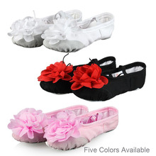 New Girls Soft Sole Dancing Shoes Children Kids  Ballet Dance Practice Shoes With Flowers