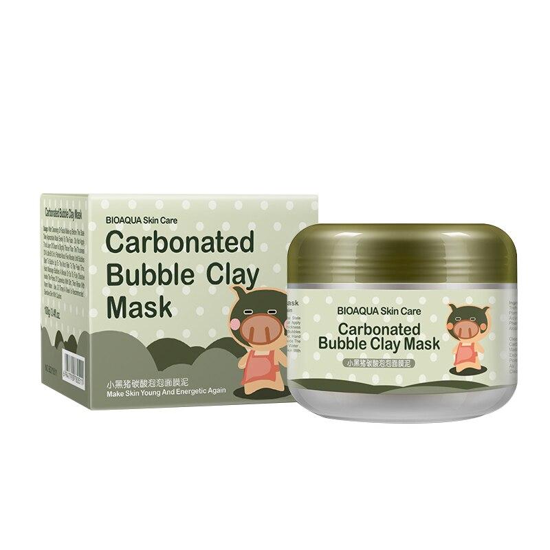 BIOAQUA Kawaii Black Pig Carbonated Bubble Clay Peeling Mask Black Head Remove effective and Moisturizing Clean Face Skin 100g