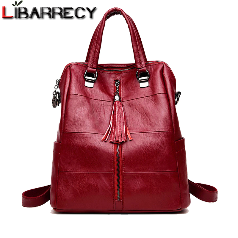 Fashion Women's Backpack Brand Leather Luxury Shoulder Bag Large Capacity School Bag for Girls Travel Female Bags Mochilas 2018 2017 brand designer women simple style backpack fashion pu leather black school bag for girls large capacity shoulder travel bag