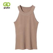 GOPLUS Spring Fashion Halter Sexy Knitted Tank Tops Women Sleeveless Elastic Crop top Casual Elegant Vest slim female Tees Camis