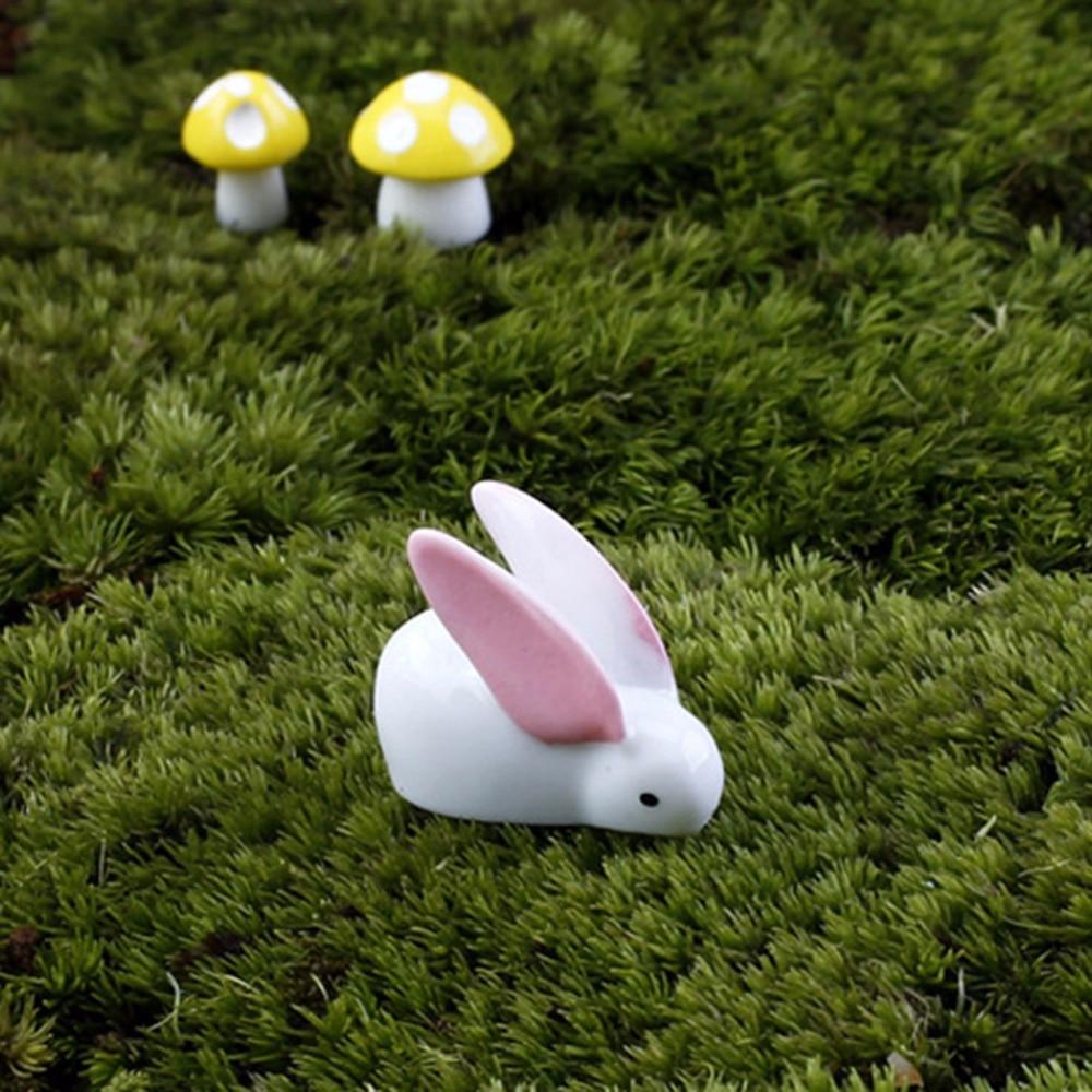 unids miniatura conejos resina blanco ornamento diy jardinera decoracin juguetes de la mueca de hadas