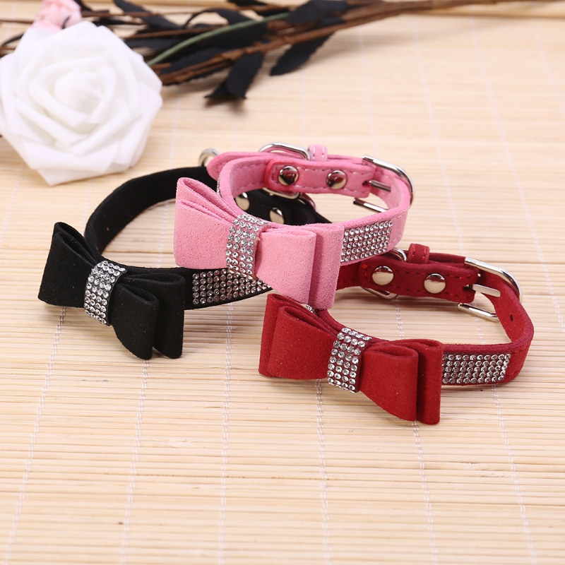 Soft Seude Leather Pet Collar Bling Rhinestone Bowknot Collar For Puppy Dog Cat