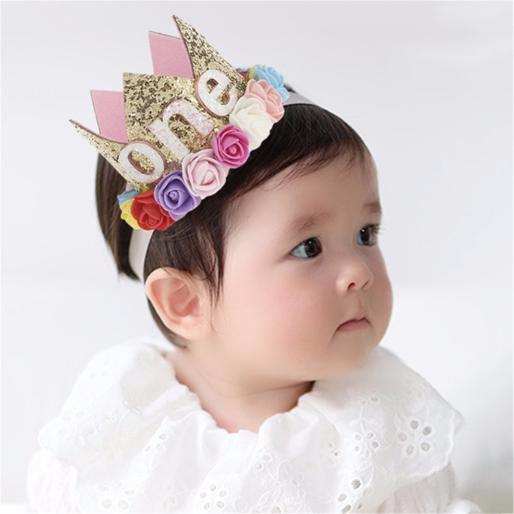 Cute Flower Crown Newborn Headband Gold Birthday Crown Flower Tiara