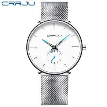 comprar popular en venta estilo novedoso 2019 CRRJU Ultra delgado reloj de cuarzo correa de malla de ...
