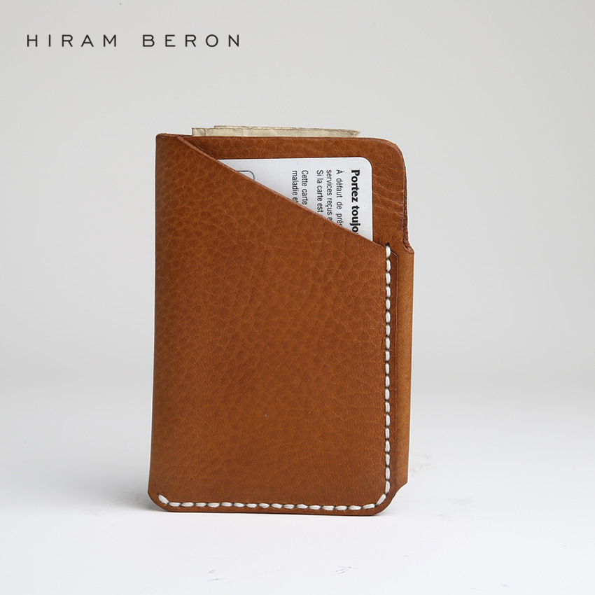 Hiram Beron Credit Card Holder Men Free Customized Name bank card holder wallet for cards vegetable tanned leather