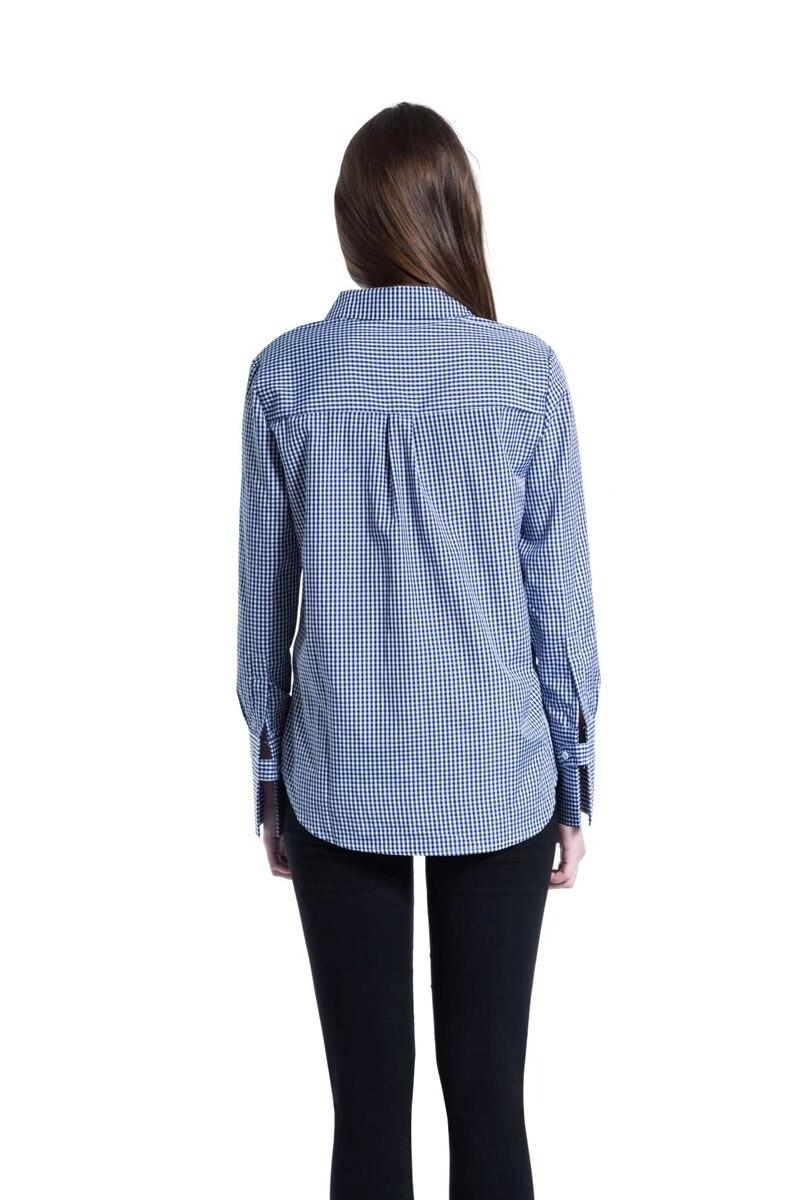 Для женщин блузки 2018 Весенняя мода птицы вышивка плед длинная рубашка Свободные Топ рубашки с длинным рукавом Женские Размеры S, M, L