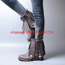Female Autumn/Winter Thick High-heeled Martin Boots Women Leather Rivets Boots Casual Retro Motorcycle Rhinestone Botas