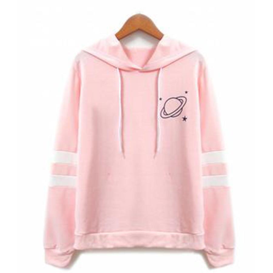 pink planet print varsity striped hoodie - HD980×1470