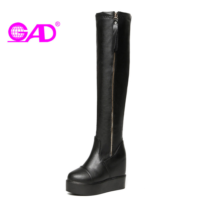 GAD New Winter Shoes Fashion Side Zipper Thick Bottom Women Knee-High Boots Warm Flat Platform Sexy Fashion Shoes Women Boots big yards for women s shoes in the fall and winter of 2016 high thickening bottom anti slip with warm confined new fashion shoes