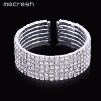 Six Row Top Crystal Silver Plated Jewelry Bridal Wedding Accessories Bangles Bracelets For Women SL115