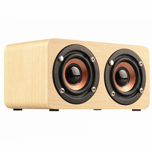 Wooden Bluetooth Speaker w5 HIFI Wireless Speaker 3D Dual Loudspeakers Surround Mini Portable bluetooth USB Charging