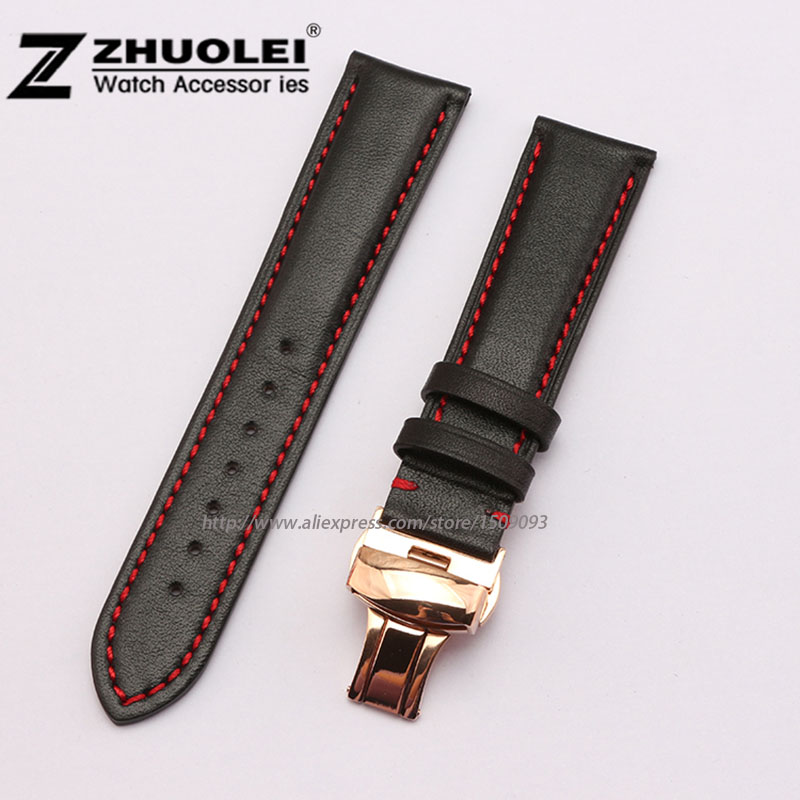 цена на Genuine Leather watchband with Red stitching for womens and Mens Genuine Leather Replacement Strap Band 18mm 19mm 20mm 21mm 22mm