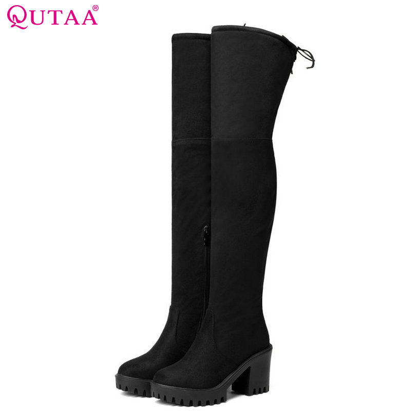 QUTAA  2018 Fashion Women Over The Knee Boots Suede/PU Round Toe Boots Zipper Synthetic Solid Ladies Motorcycle Boots Size 34-43