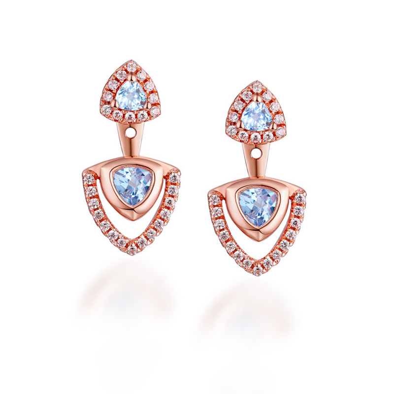 ANI 925 Sterling Silver Women Drop Earrings Natural Topaz Color Gemstone Fine Jewelry Engagement Dangle Earrings for Women pair of sweet candy color gemstone embellished earrings for women