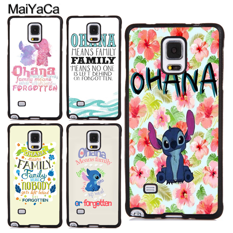 MaiYaCa Ohana Means Family Lilo Stich Quote Soft TPU Full Cover For Samsung S4 S5 S6 S7 Edge S8 S9 Plus Note 8 4 5 Phone Case