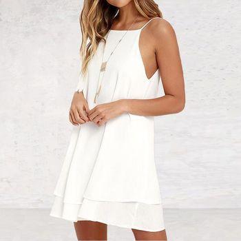 Lossky женское летнее шифоновое платье с открытой спиной, сексуальное мини-платье на бретельках, повседневные свободные платья, модное женское черное красное платье для девочек 4
