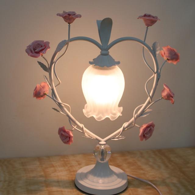 Bohemia Rose Grass Table Lamp Heart Shaped Wedding Celebration Bedroom  Bedside Table Light