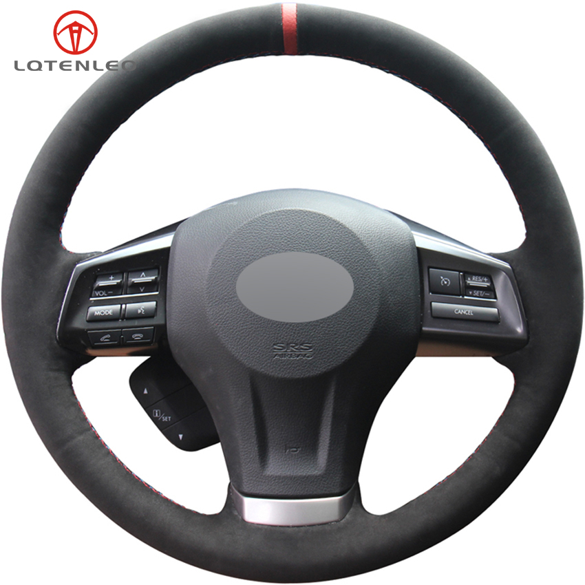 LQTENLEO Black Suede Car Steering Wheel Cover For Subaru Forester 2013 2015 Legacy Outback 2012 2014