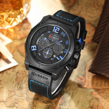 CURREN Luxury Brand Men Military Sport Chronograph Watches Date Quartz Male Clock Leather Strap Wrist watch Montre Homme  Reloj